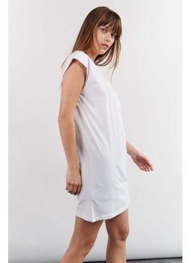 Levure Omuzları Vatkalı Sıfır Kol Tunik T-Shirt Beyaz